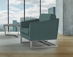 ARMCHAIR APOLLO BLUE FABRIC AND BRUSHED STAINLESSS STEEL 68x80x82 CM (AC020BL)