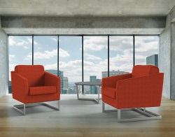 ARMCHAIR APOLLO ORANGE FABRIC AND BRUSHED STAINLESSS STEEL 68x80x82 CM (AC020O)