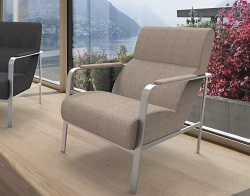 ARMCHAIR CYRANO BEIGE FABRIC AND BRUSHED STAINLESSS STEEL 66 x81 x 85 CM (AC022M1)