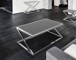 COFFEE TABLE ADORA GREY ACID ETCHED POLISHED STAINLESS STEEL 116x71x45 CM (CT096LGA)