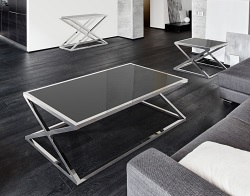 COFFEE TABLE ADORA LACQUERED BLACK POLISHED STAINLESS STEEL 140x80x45 CM (CT094LB)