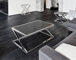 COFFEE TABLE ADORA LACQUERED BLACK POLISHED STAINLESS STEEL 116x71x45 CM (CT096LB)