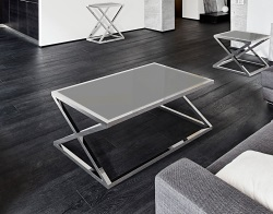 COFFEE TABLE ADORA LACQUERED GREY POLISHED STAINLESS STEEL 116x71x45 CM (CT096LG)