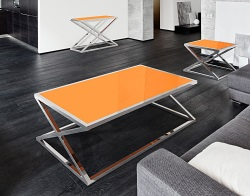 COFFEE TABLE ADORA LACQUERED ORANGE POLISHED STAINLESS STEEL 140x80x45 CM (CT094LO)