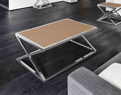 COFFEE TABLE ADORA SANDSTONE BROWN POLISHED STAINLESS STEEL 116x71x45 CM (CT096GB)