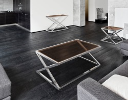 COFFEE TABLE ADORA SEPIA POLISHED STAINLESS STEEL 116x71x45 CM (CT096P)