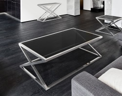COFFEE TABLE ADORA TINTED GREY POLISHED STAINLESS STEEL 116x71x45 CM (CT096G)
