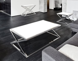 COFFEE TABLE ADORA WHITE LACQUERED POLISHED STAINLESS STEEL 140x80x45 CM (CT094LW)