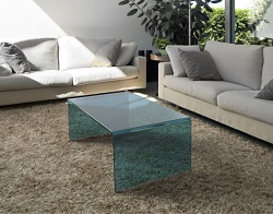 COFFEE TABLE ATENA BLUE TINTED HOT BENT GLASS 110X60X40 CM (CT071B)