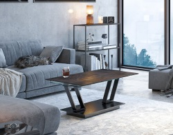 COFFEE TABLE BARCELONA STEEL CERAMICS BLACK EPOXY PAINTED STEEL 95(163)x60x42 CM (CT133SD)