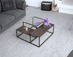 COFFEE TABLE BRASILIA CLEAR 2 STEEL CERAMIC TOPS 80x80x40 CM (CT300C)