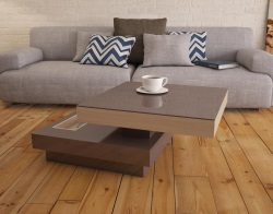 COFFEE TABLE CELIA ROULETTE OAK MDF - WHEELS 70x70x36 CM (CT130CH)