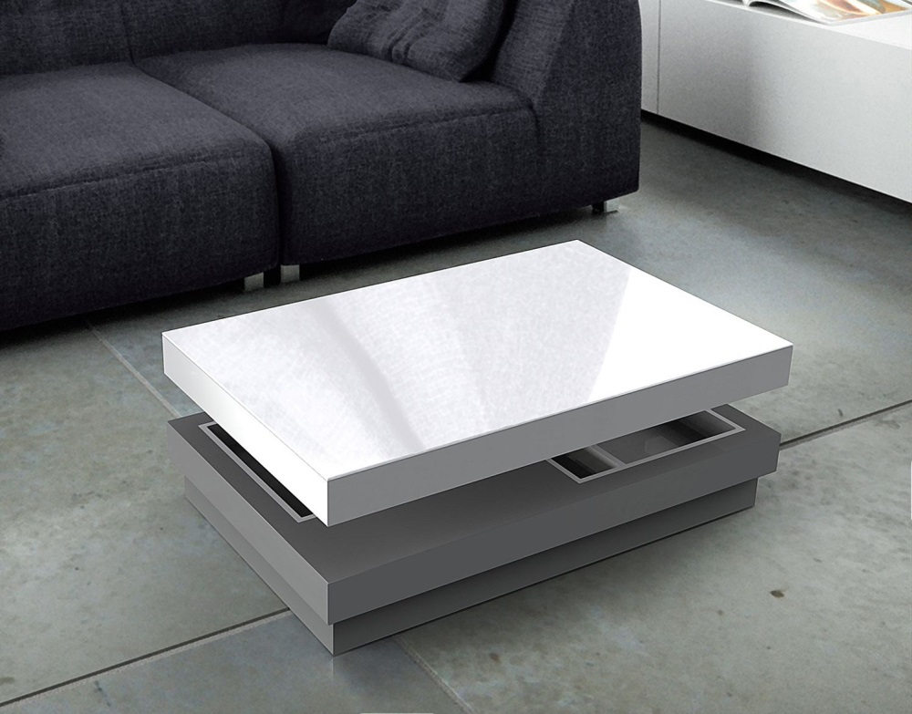Coffee Table Celia Lacquered Grey Mdf 110x70x39 Cm Ct111lg