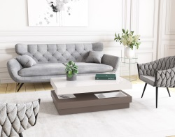 COFFEE TABLE CELIA LACQUERED TAUPE MDF 110x70x39 CM (CT111LT)
