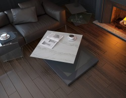 COFFEE TABLE CERAMICA (INDIANA) MARBLE CERAMICS MDF LACQUERED 89(120 )x89*38 CM (CT220CM)