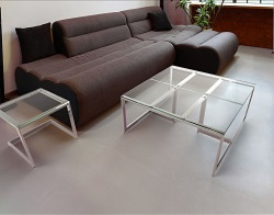 COFFEE TABLE CONDUCTION CLEAR POLISHED STAINLESS STEEL 90x45x42 CM (CT120C)