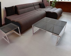 COFFEE TABLE CONDUCTION TINTED GREY POLISHED STAINLESS STEEL 90x45x42 CM (CT120G)