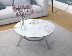 COFFEE TABLE ELLIPSE MAT MARBLE CERAMICS POLISHED STAINLESS STEEL 90X90x40 CM (CT102MA_C)