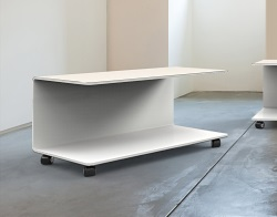 COFFEE TABLE EMMA WHITE LACQUERED HOT BENT GLASS 80x50x42 CM (CT073LW)