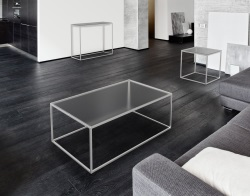COFFEE TABLE JULIA CRYSTAL ACID ETCHED BRUSHED STAINLESS STEEL 110x65x40 CM (CT182RA)