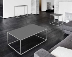 COFFEE TABLE JULIA GREY ACID ETCHED BRUSHED STAINLESS STEEL 110x65x40 CM (CT182LGA)
