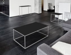 COFFEE TABLE JULIA LACQUERED BLACK BRUSHED STAINLESS STEEL 110x65x40 CM (CT182LB)