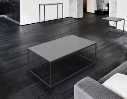 COFFEE TABLE JULIA LACQUERED GREY BLACK EPOXY PAINTED STEEL 110x65x40 CM (CT180LG)