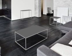 COFFEE TABLE JULIA LACQUERED GREY BRUSHED STAINLESS STEEL 110x65x40 CM (CT182LG)