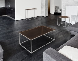 COFFEE TABLE JULIA SEPIA BRUSHED STAINLESS STEEL 110x65x40 CM (CT182P)