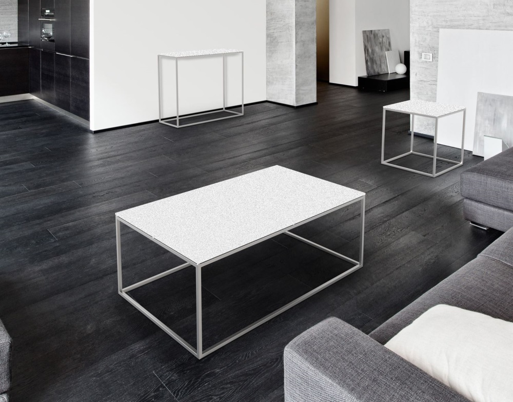 Coffee Table Julia White Ceramics Brushed Stainless Steel 110x65x40