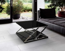 COFFEE TABLE KARLA LACQUERED BLACK POLISHED STAINLESS STEEL 110x65x39 CM (CT209LB)