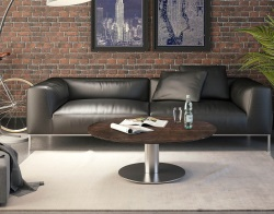 COFFEE TABLE LUNA STEEL CERAMICS BRUSHED STAINLESS STEEL 110x110x40 CM (CT018SD)
