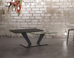 COFFEE TABLE MONTANA CHARCOAL CERAMICS MDF LACQUERED AND CHROMED STEEL 105(135)x60x36,5 CM (CT230CG2)