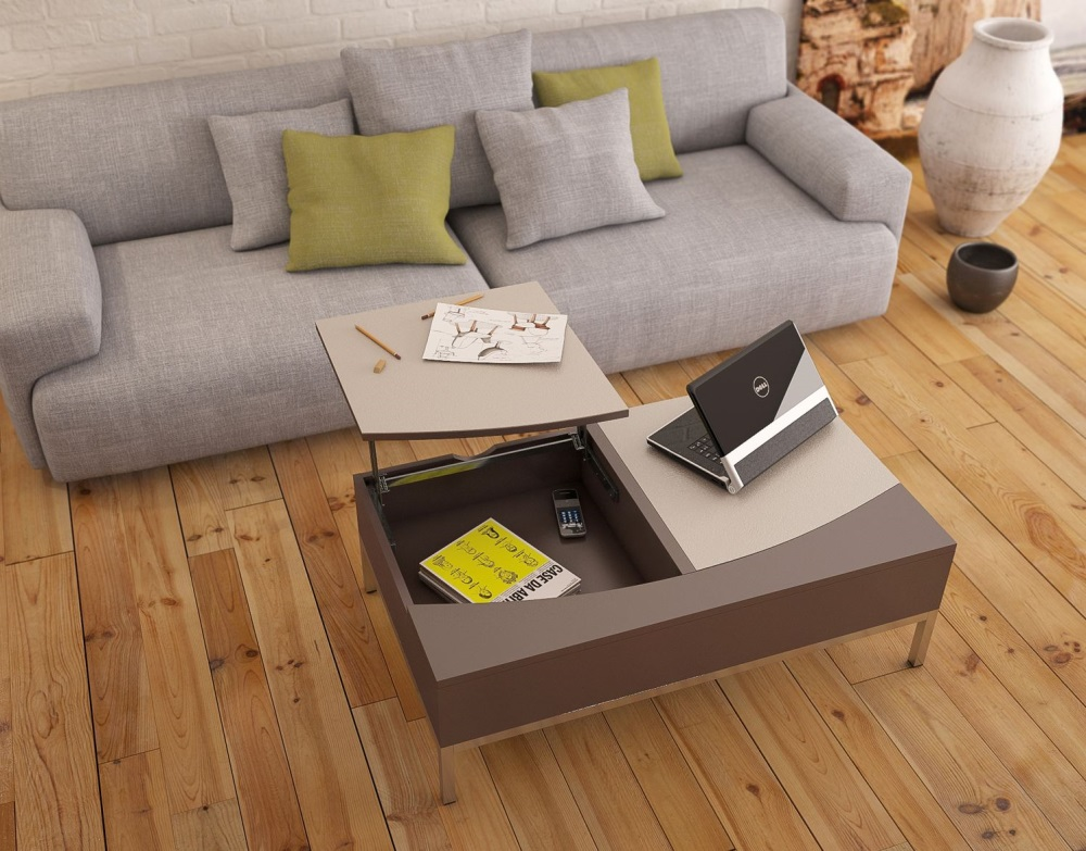 Coffee table nebraska taupe ceramic mdf lacquered - Table basse taupe laque ...