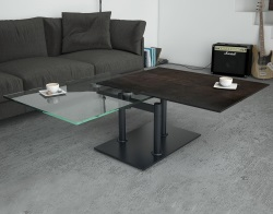 COFFEE TABLE OPERA STEEL CERAMICS BLACK LACQUERED STEEL (150-90)x60x42 CM (CT097SD)