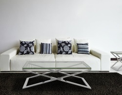 COFFEE TABLE OXANA CLEAR POLISHED STAINLESS STEEL 110x65x34 CM (CT108C)