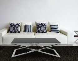 COFFEE TABLE OXANA GREY ACID ETCHED POLISHED STAINLESS STEEL 110x65x34 CM (CT108LGA)
