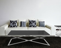COFFEE TABLE OXANA LACQUERED BLACK BRUSHED STAINLESS STEEL 130x80x34 CM (CT107LB)