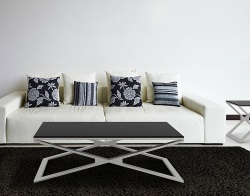 COFFEE TABLE OXANA LACQUERED BLACK BRUSHED STAINLESS STEEL 110x65x34 CM (CT112LB)