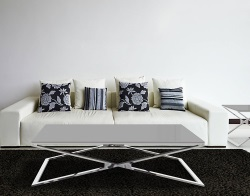 COFFEE TABLE OXANA LACQUERED GREY POLISHED STAINLESS STEEL 130x80x34 CM (CT104LG)