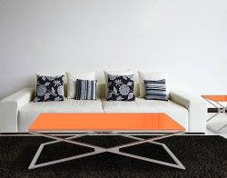COFFEE TABLE OXANA LACQUERED ORANGE BRUSHED STAINLESS STEEL 130x80x34 CM (CT107LO)