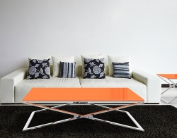 COFFEE TABLE OXANA LACQUERED ORANGE POLISHED STAINLESS STEEL 130x80x34 CM (CT104LO)