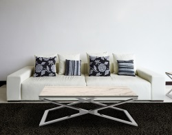 COFFEE TABLE OXANA MARBLE CERAMICS POLISHED STAINLESS STEEL 110x65x34 CM (CT108CM)