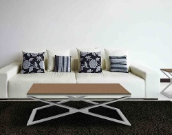 COFFEE TABLE OXANA SANDSTONE BROWN BRUSHED STAINLESS STEEL 110x65x34 CM (CT112GB)