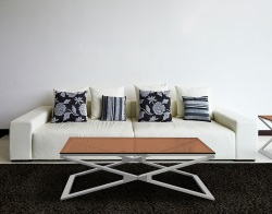 COFFEE TABLE OXANA SEPIA POLISHED STAINLESS STEEL 110x65x34 CM (CT108P)