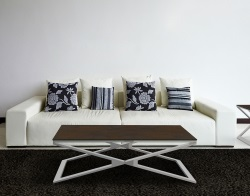 COFFEE TABLE OXANA STEEL CERAMICS BRUSHED STAINLESS STEEL 110x65x34 CM (CT112SD)