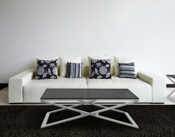 COFFEE TABLE OXANA TINTED GREY BRUSHED STAINLESS STEEL 110x65x34 CM (CT112G)