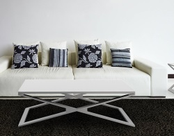 COFFEE TABLE OXANA WHITE ACID ETCHED BRUSHED STAINLESS STEEL 110x65x34 CM (CT112LWA)
