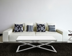 COFFEE TABLE OXANA WHITE CERAMICS BRUSHED STAINLESS STEEL 110x65x34 CM (CT112CW)