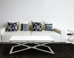 COFFEE TABLE OXANA WHITE LACQUERED BRUSHED STAINLESS STEEL 110x65x34 CM (CT112LW)